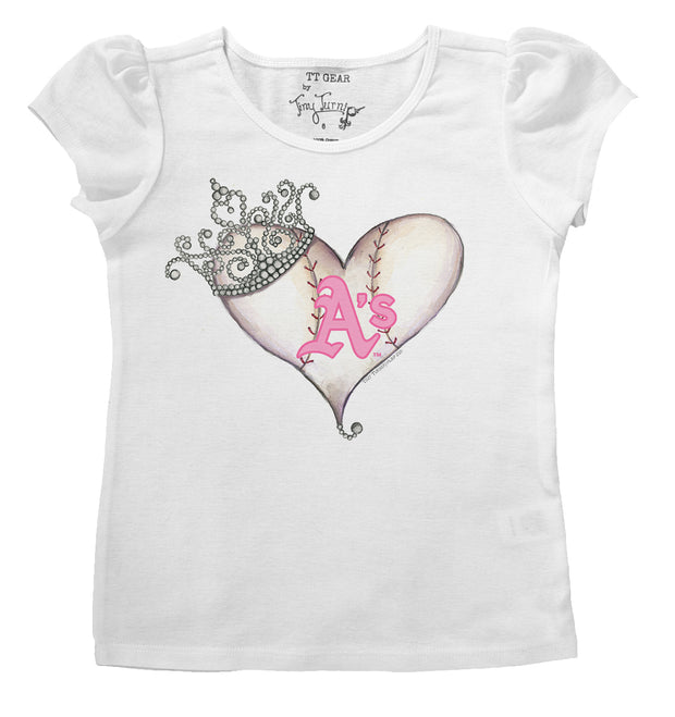 Oakland Athletics Infant Tiara Heart Puff Sleeve Tee