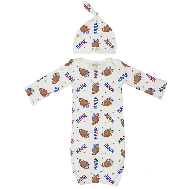 Tiny Turnip Football Bow Gownsie Layette Set