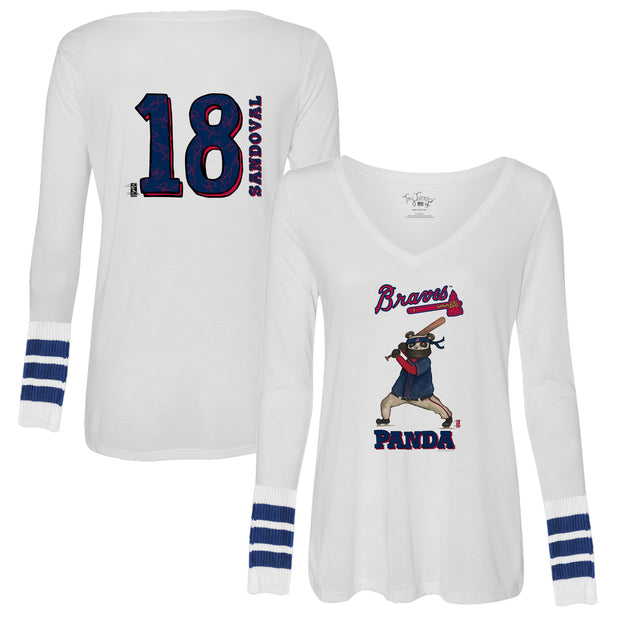 "Atlanta Braves Pablo Sandoval ""Panda"" Long Sleeve Flowy V-Neck"