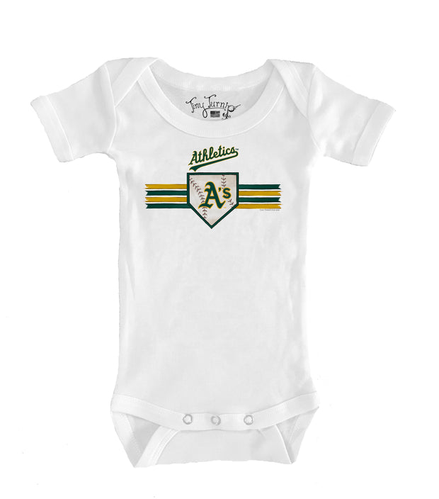 Oakland Athletics Infant Base Stripe Short Sleeve Snapper