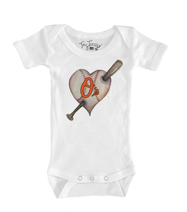 Baltimore Orioles Infant Heart Bat Short Sleeve Snapper