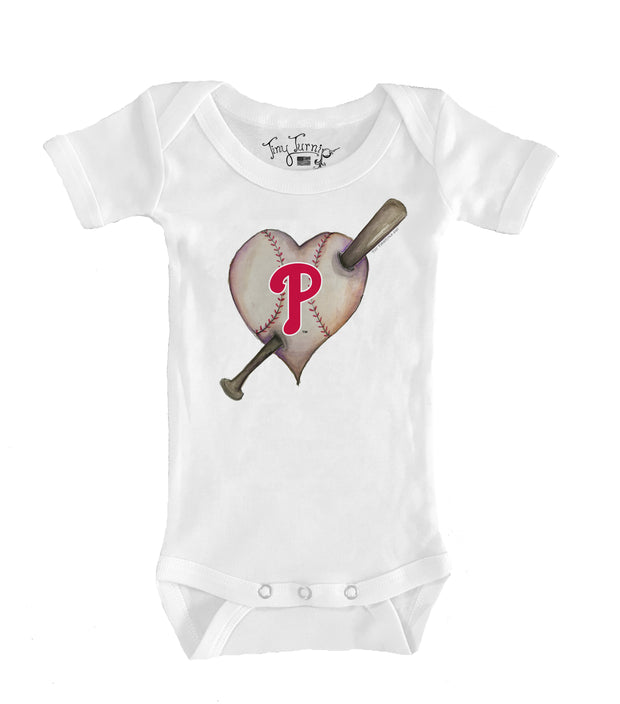 Philadelphia Phillies Infant Heart Bat Short Sleeve Snapper
