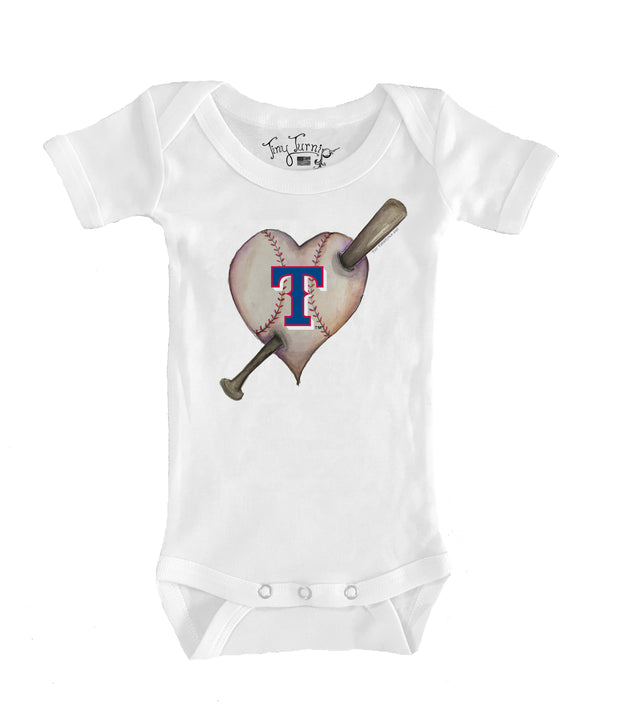 Texas Rangers Infant Heart Bat Short Sleeve Snapper