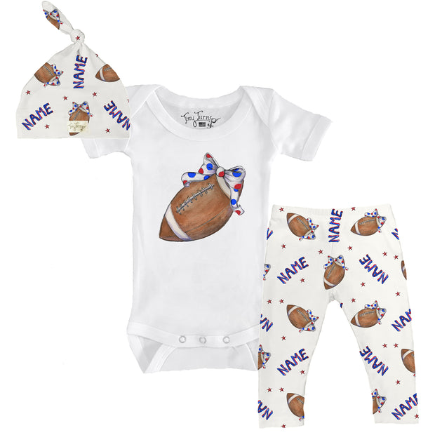 Tiny Turnip Football Bow Snapper Layette Set
