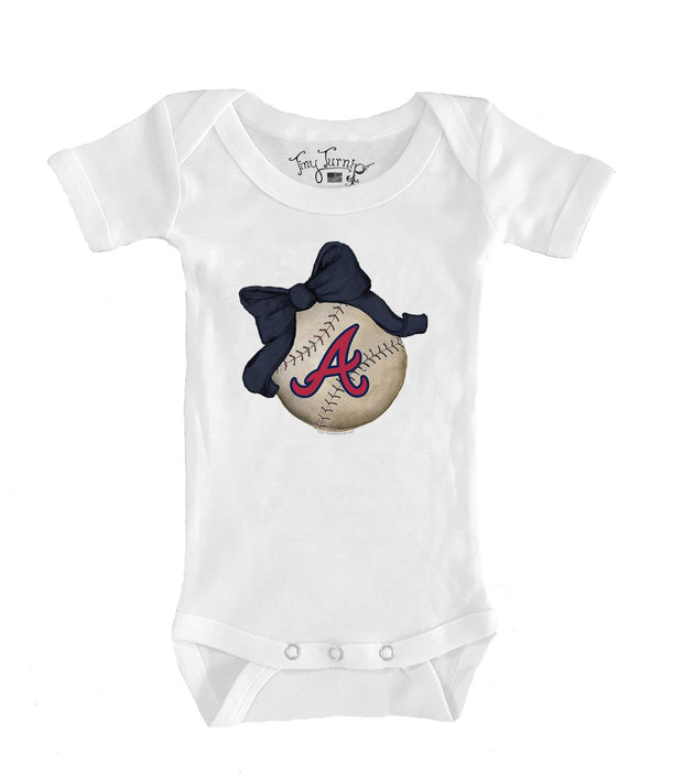 Atlanta Braves Infant Baseball Bow Short Sleeve Snapper
