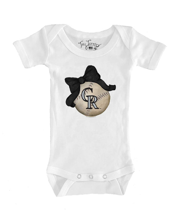 Colorado Rockies Infant Baseball Bow Short Sleeve Snapper