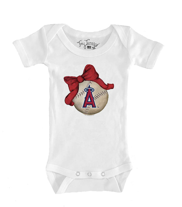 Los Angeles Angels Infant Baseball Bow Short Sleeve Snapper