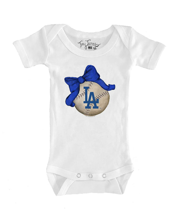 Los Angeles Dodgers Infant Baseball Bow Short Sleeve Snapper