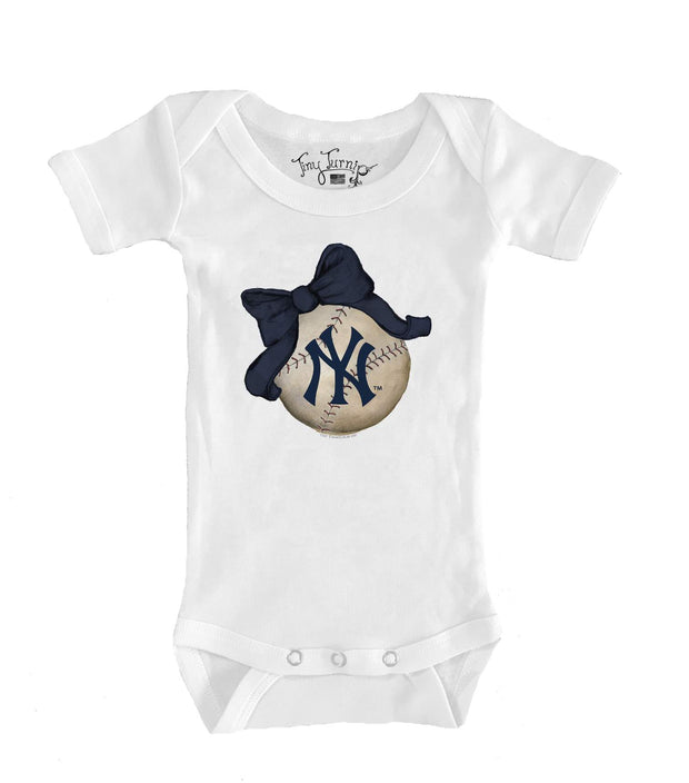 New York Yankees Infant Baseball Bow Short Sleeve Snapper