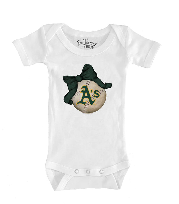 Oakland Athletics Infant Baseball Bow Short Sleeve Snapper
