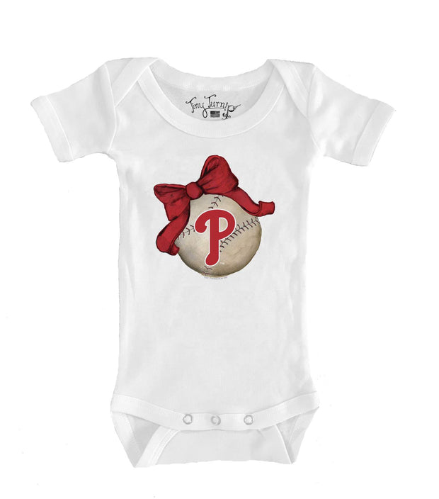 Philadelphia Phillies Infant Baseball Bow Short Sleeve Snapper