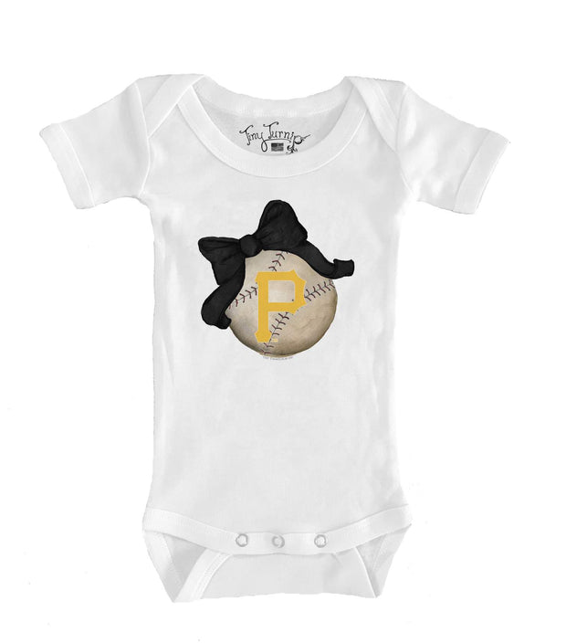 Pittsburgh Pirates Infant Baseball Bow Short Sleeve Snapper