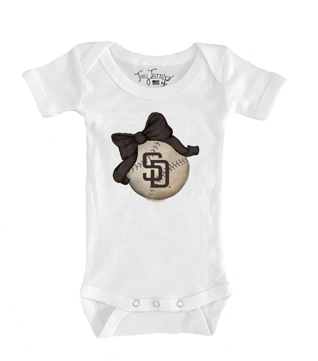 San Diego Padres Infant Baseball Bow Short Sleeve Snapper
