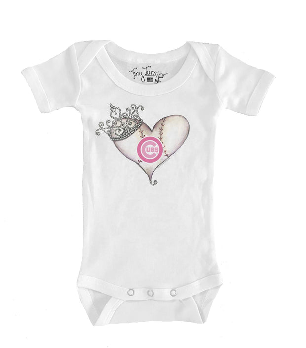 Chicago Cubs Infant Tiara Heart Short Sleeve Snapper