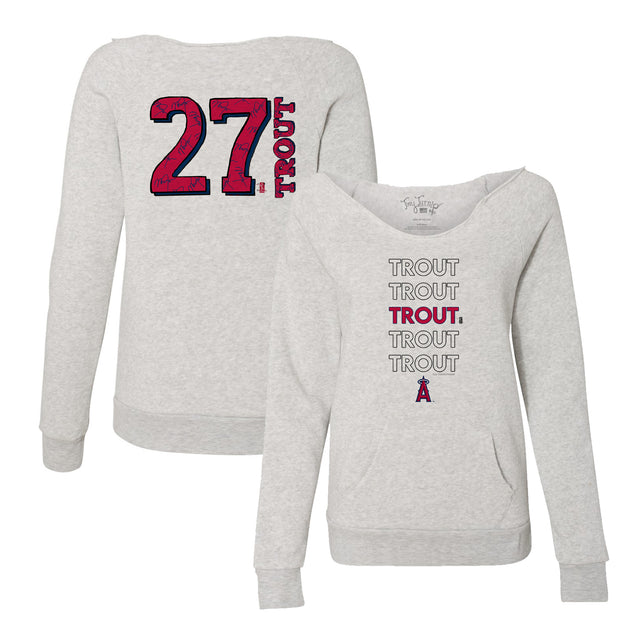 Los Angeles Angels Mike Trout Stacked Women's Slouchy Sweatshirt