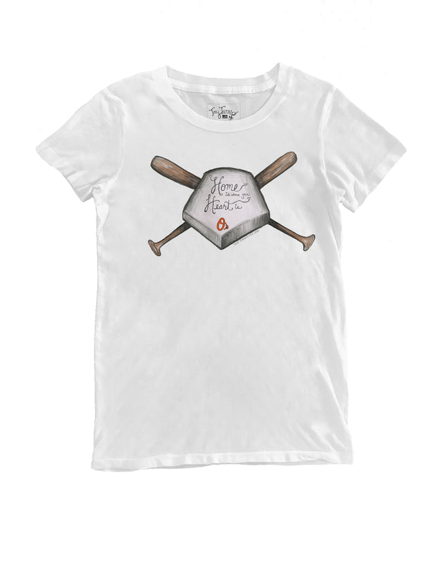 Baltimore Orioles Women's Home Is Where Your Heart Is Tee