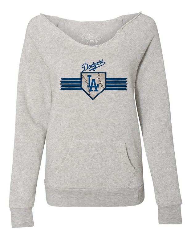 Los Angeles Dodgers Women's Base Stripe Slouchy Sweatshirt