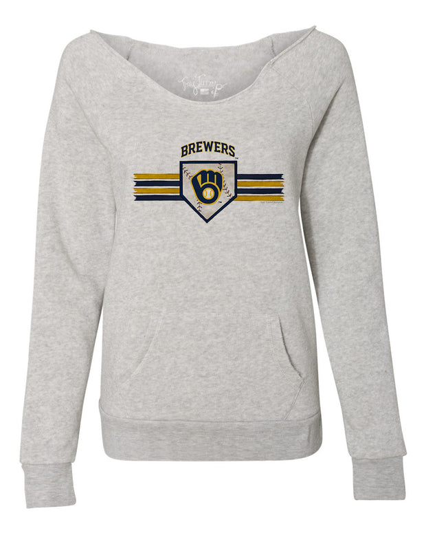 Milwaukee Brewers Women's Base Stripe Slouchy Sweatshirt