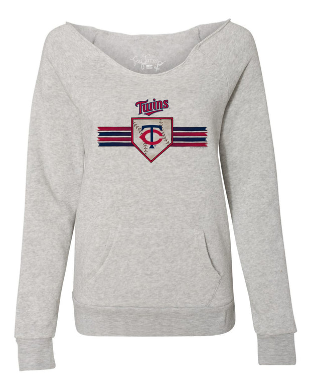 Minnesota Twins Women's Base Stripe Slouchy Sweatshirt