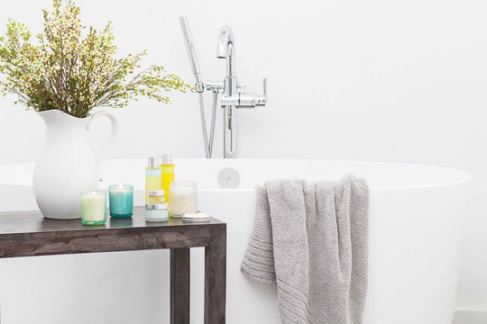 Beautiful white detoxified bathroom cleaned using natural eco friendly non toxic cleaners from the Clean Crate Subscription Box
