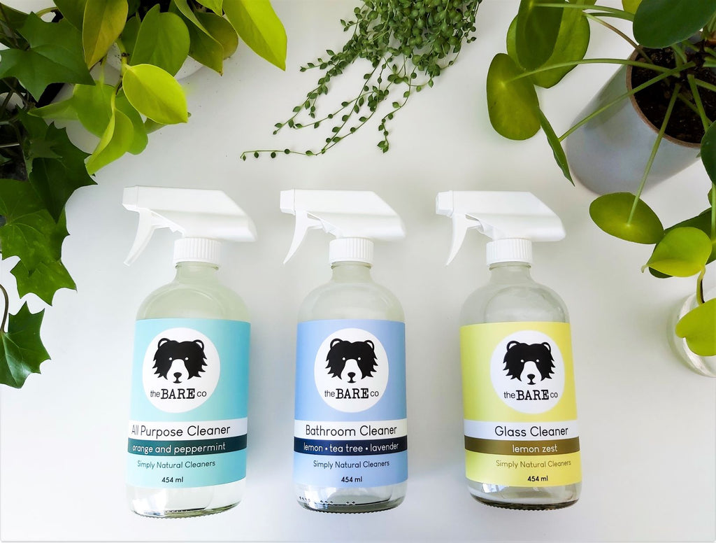 3 glass bottle all natural cleaners