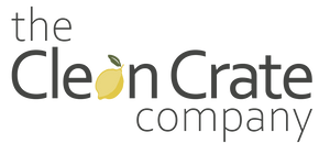 The Clean Crate Company logo with a lemon in the word Clean which replaces the A