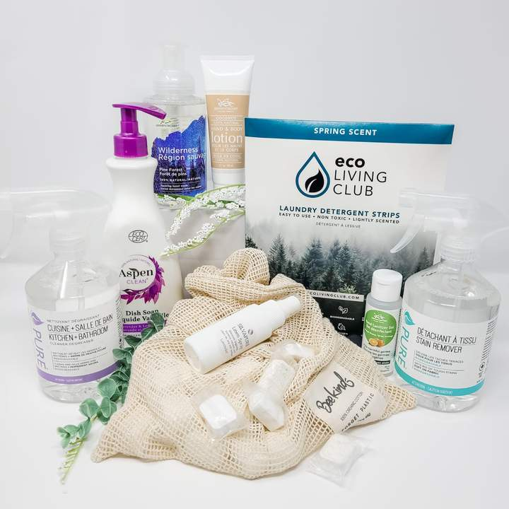 winter 2021 clean crate. selection of eco friendly, non toxic Canadian household cleaning essentials