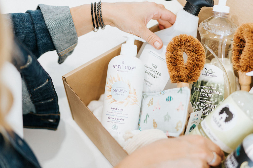 Box filled with eco-friendly cleaning products