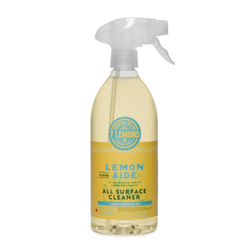 Lemon Aide All Surface Cleaner, Fresh yellow and white Spray bottle of natural non-toxic eco-friendly septic safe all surface cleaner featured in the Clean Crate's Add-on Shop to add to subscription