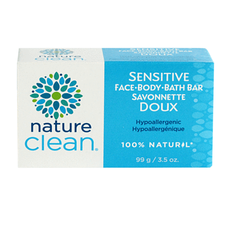Blue and white box of sensitive hypoallergenic natural Nature Clean face body and bath bar. Featured in the Clean Crate Add-on shop and available in the Clean Crate Subscription box.