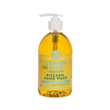 Fresh Lemony soap pump of Lemon Aide Kitchen Hand Wash. Natural, eco friendly, non-toxic, scented with essential oils. Featured in the Clean Crate Add-on shop and available to add to Clean Crate Subscription box.