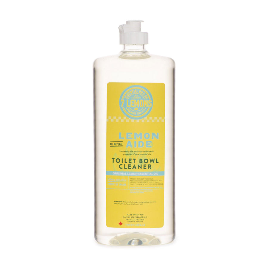 Fresh Lemony bottle of Lemon Aide Toilet Bowl Cleaner. Natural, eco friendly, non-toxic, scented with essential oils. Featured in the Clean Crate Add-on shop and available to add to Clean Crate Subscription box.