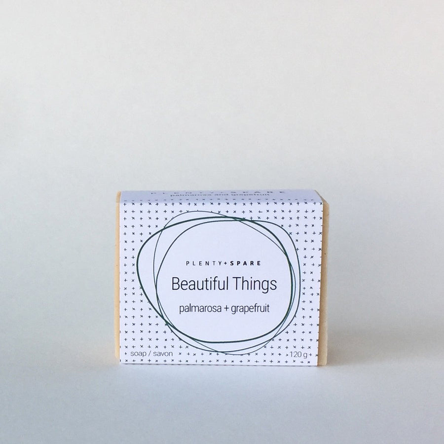Beautifully wrapped rectangle soap bar, Plenty + Spare eco friendly non toxic natural small batch bath, hand and body soap. Featured in the Clean Crate Add-on shop and available in the Clean Crate Subscription box.
