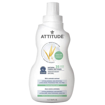 simple white jog of ATTITUDE fragrance free natural fabric softener. Featured in the Clean Crate Add-on Shop
