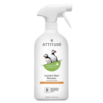 Beautiful white stray bottle of natural non-toxic eco-friendly Attitude Laundry Stain Remover featured in the Clean Crate add on shop to add to subscription box