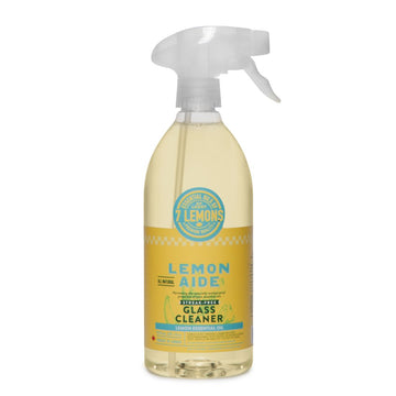 Fresh Lemony spray bottle of Lemon Aide glass cleaner. Natural, eco friendly, non-toxic, scented with essential oils. Featured in the Clean Crate Add-on shop and available to add to Clean Crate Subscription box.