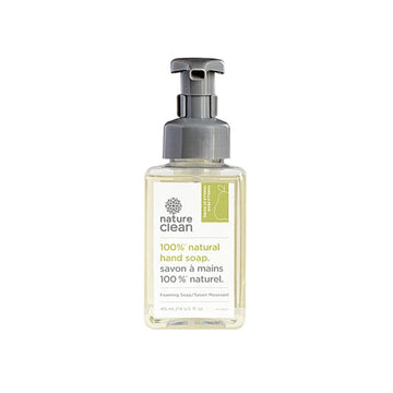 Simple Clear foaming pump bottle of natural eco friendly Nature Clean hand soap. Featured in the Clean Crate Add-on shop and available to add to Clean Crate Subscription box