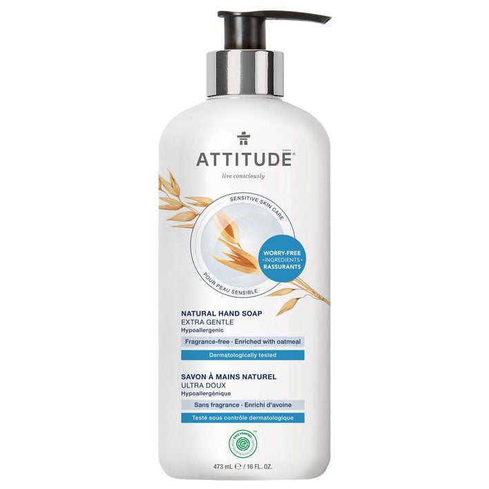 Clean white pump of natural fragrance free hypoallergenic mild ATTITUDE hand soap. Available at the Clean Crate Add-on Shop, can be added to Clean Crate Subscription Box.