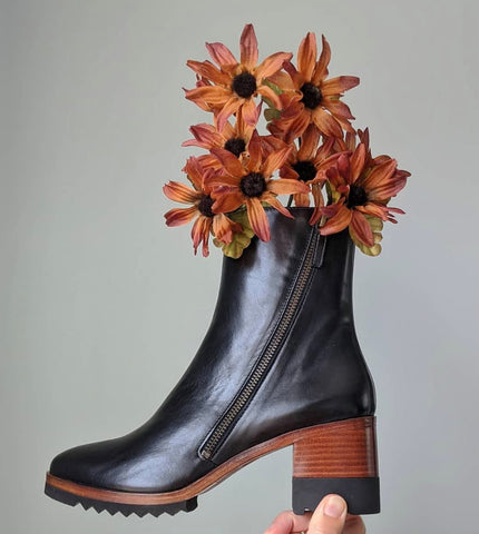 Chelsea boot with fall flowers