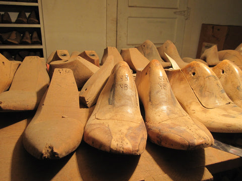 Shoe forms in a designer shoe factory