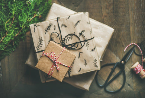 Gifts wrapped under a tree