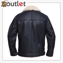 Load image into Gallery viewer, Men White Shearling Leather Jacket