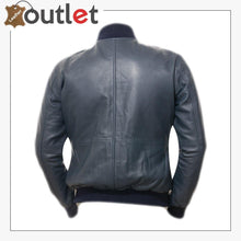 Load image into Gallery viewer, Men Blue Bomber Leather Jacket