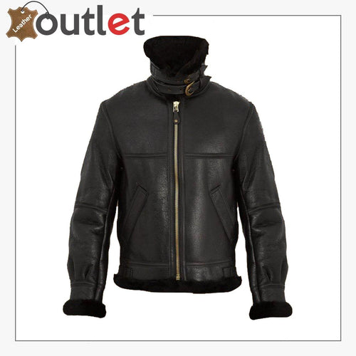 Women Pure Black B3 Shearling Jacket