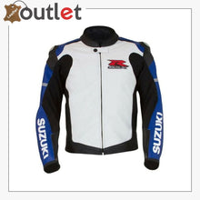 Load image into Gallery viewer, Blue-White Mens Medium Suzuki GSX-R Leather Jacket