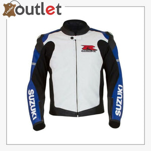 Blue-White Mens Medium Suzuki GSX-R Leather Jacket