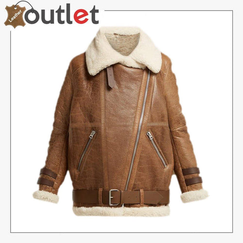 Color: Brown Material: Pure Leather Inner Faux Shearling Lining Sherpa Lapel Collar Open Sherpa Cuffs Zip Fastening Outside PocketsColor: Brown Material: Pure Leather Inner Faux Shearling Lining Sherpa Lapel Collar Open Sherpa Cuffs Zip Fastening Outside Pockets