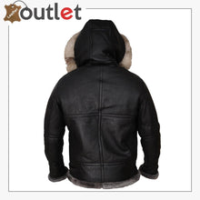Load image into Gallery viewer, Men Black Shearling Jacket With Hoodie