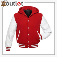 Load image into Gallery viewer, Red Hoodie Varsity Jacket
