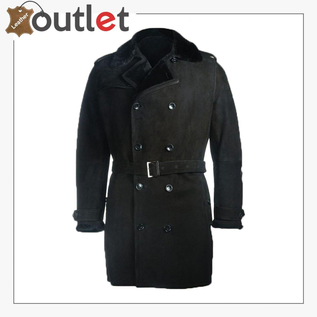 Men Black Sherpa Trench